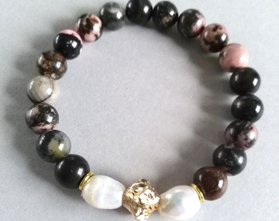 Beaded Gemstone Bracelet in Pink and Brown Rhodonite, White Baroque Pearls and Gold Filled Twisted Accent