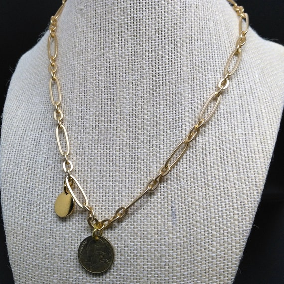 Gold Chain Necklace with Optional Coin and Stamping Disc Charms in Stretched Oval Link Chain