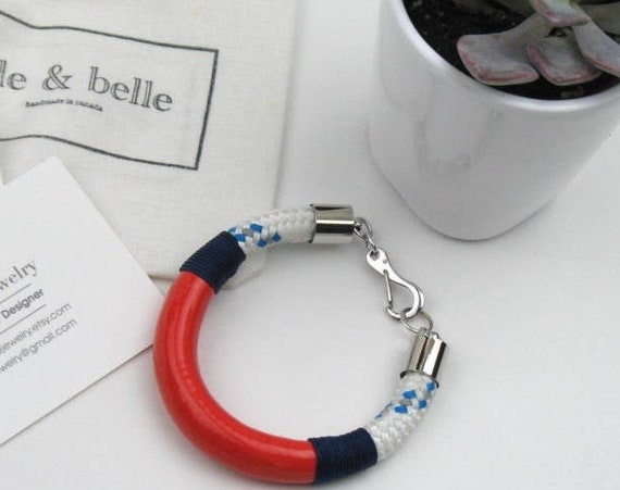 Nautical Rope Bracelet in White and Blue Boating Cord Coated with Coral Enamel