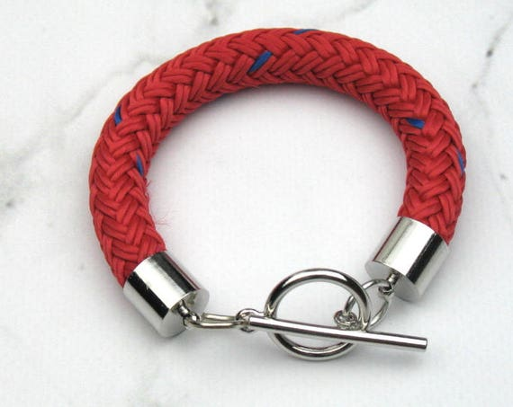 Nautical Rope Bracelet in Red and Blue Boating Cord with Silver Plated Toggle Clasp