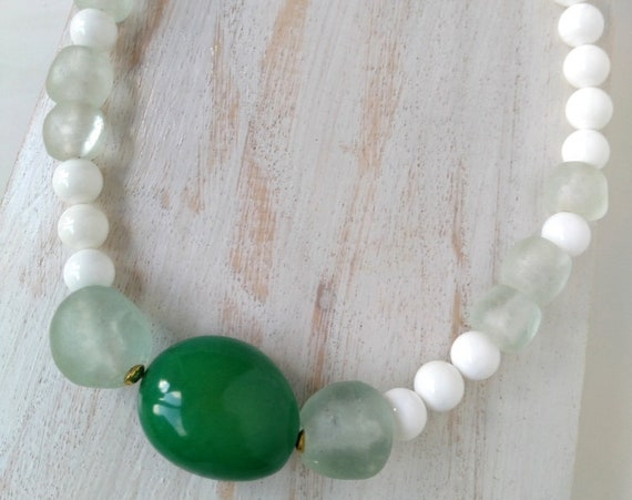 Bead Necklace in White Sea Shell with Large Green Tagua Nut and Clear/White Recycled Glass Beads from Ghana, Fair Trade