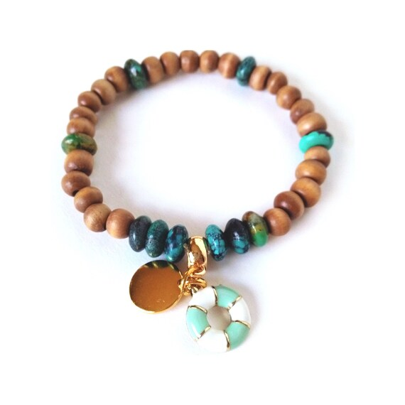 Personalized Beaded Charm Bracelet in Green and Beige w/ Turquoise Rondelles, Natural Wood Beads , Gold Stamping Disc and Nautical  Charm