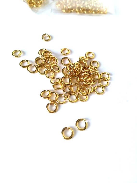 Jump Rings in Gold Plate, Pkgs of Approx. 77, Sold in Group of 4 Packages, Jewelry Making and Craft Supplies