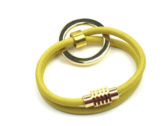 Wrap Bracelet in Yellow Mokuba Cord with Gold Ring and Gold Plated Stainless Steel Magnetic Clasp, Textile Jewelry, Gift for Mom