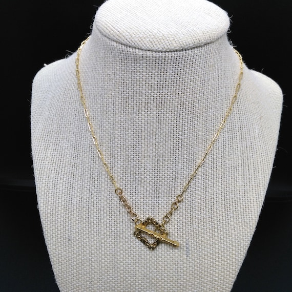 Charm Necklace in Gold Filled Chain, Bali Vermeil Leaf Charm and Ornate Square Toggle Clasp