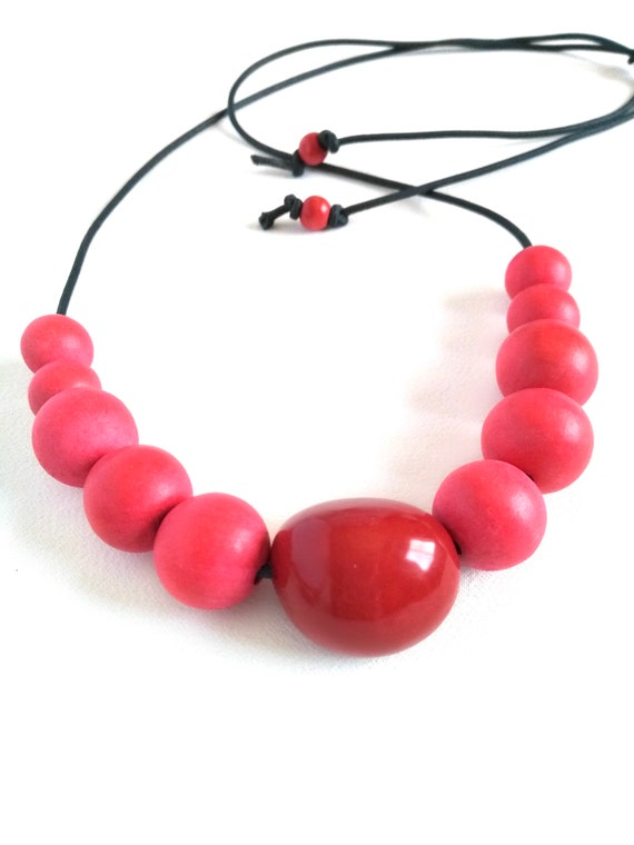 Adjustable Boho Necklace in Red with Tagua Nut and Graduated Handmade Vegetable Dyed Wood Beads and Navy Mokuba Cord