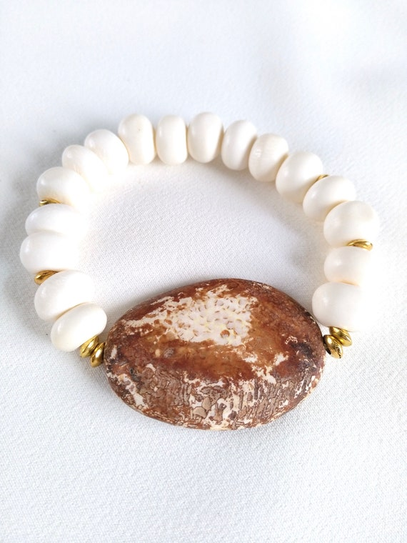 Beaded Stretch Bracelet in Brown and White w/ Wooden Agate and Bone Beads