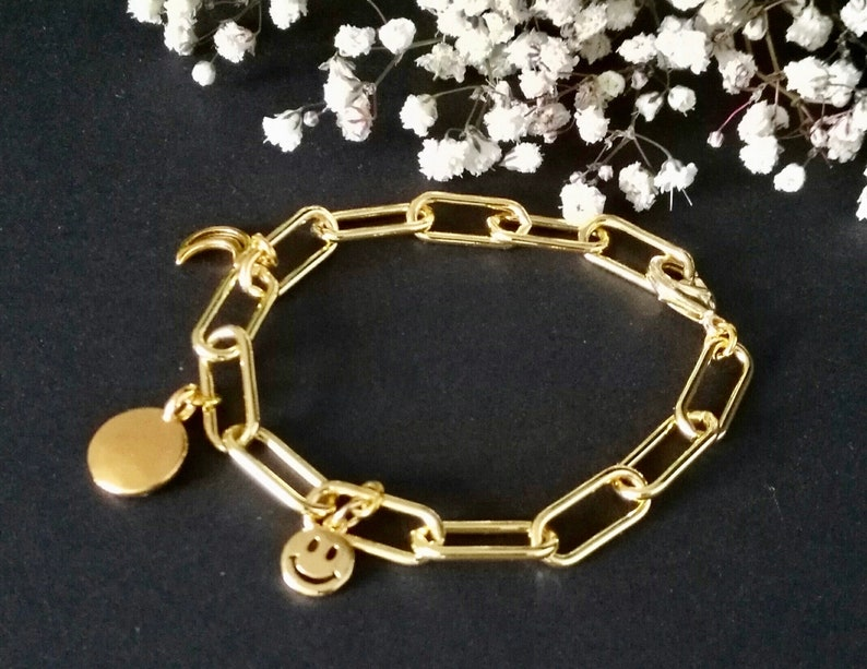 Disc and Moon Charms Chain Charm Bracelet in Thick Gold Filled Oval Link Paperclip Chain with Gold Happy Face