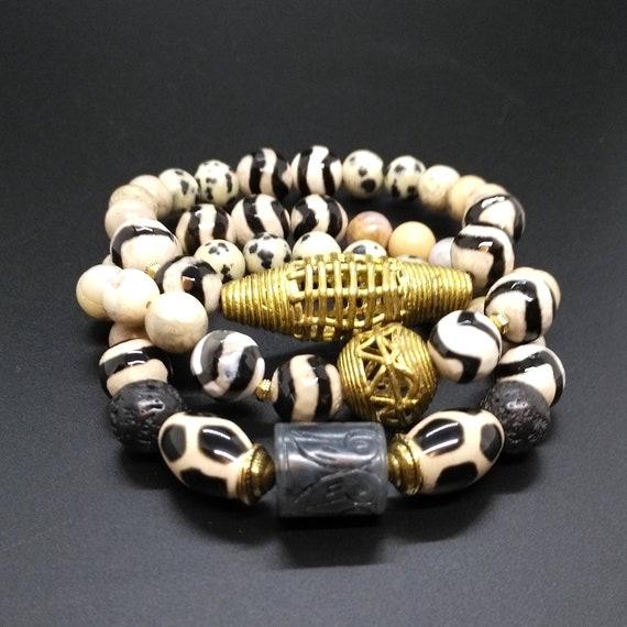 Gemstone Bracelet Stack in Dalmation Jasper, Carved Serpentine, Dzi Agate, African Brass, Crazy Lace Agate, Leopard Jasper and Lava Stone