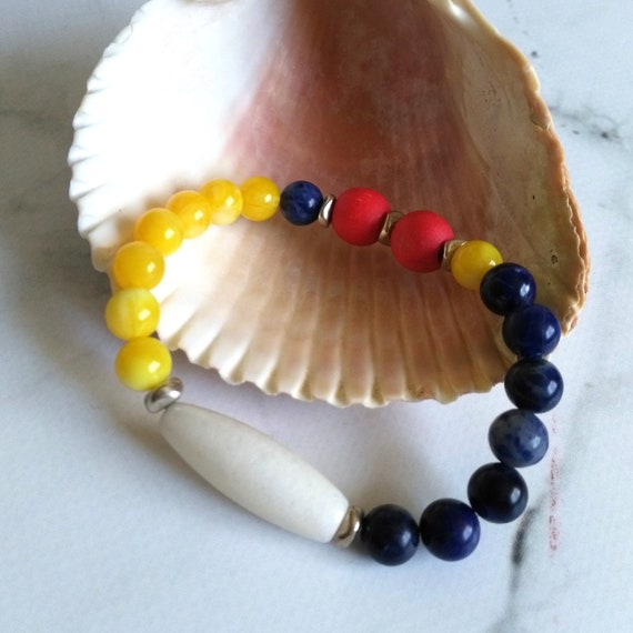 Colorful Beaded stacking Bracelet in Blue, White, Yellow, Red with Jade, Sodalite, Resin, and Wood
