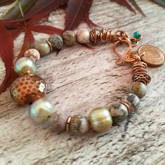 Boho Gemstone Bracelet in Copper Tones w/ Hammered Copper Focal, Baroque Pearls, Textured Copper and Agate Beads with Copper Euro Coin Charm