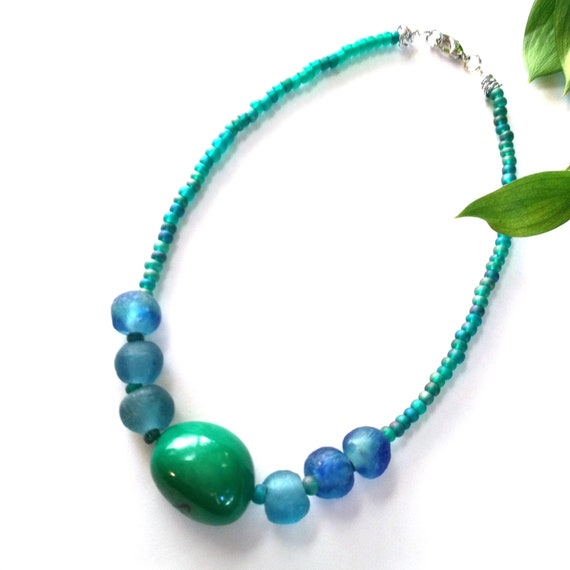 Beaded Necklace in Green and Blue with EcoFriendly Tagua Nut