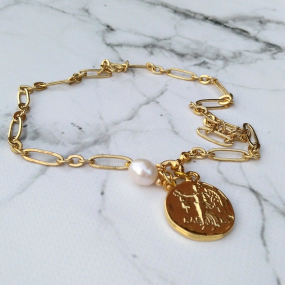Convertible Trendy Chain Necklace in Long and Short Gold Link Chain with Greek Medallion and Baroque Pearl Charms