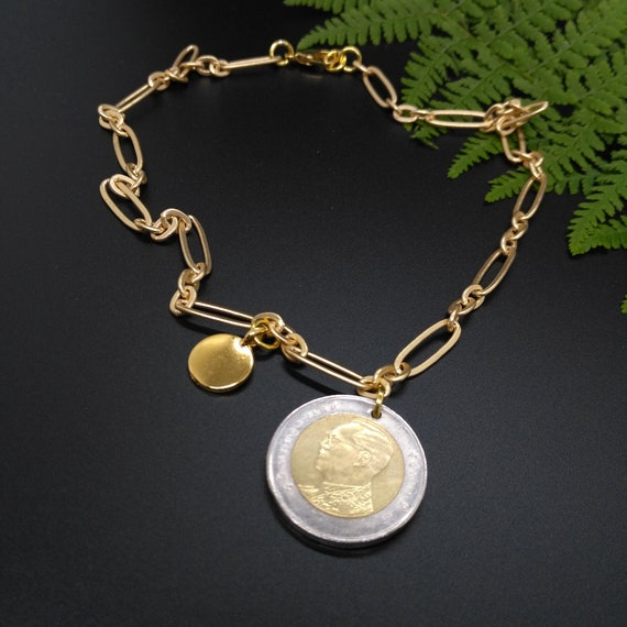 Gold Chain Layering Necklace in Stretched Oval and Circle Links with Optional Mixed Metal Coin Pendant and Stamping Disc