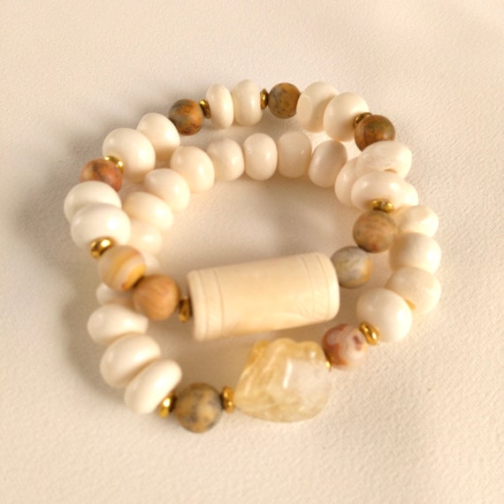 Beaded Stretch Bracelet Stack in Citrine, Textured Bone, Smooth Bone Beads and Crazy Agate Beads