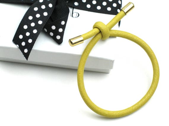 Cord Bracelet in Yellow and Gold with Knotted Mokuba Cord / Textile Bracelet / Gift For Her / Fiber Jewelry by elle & belle