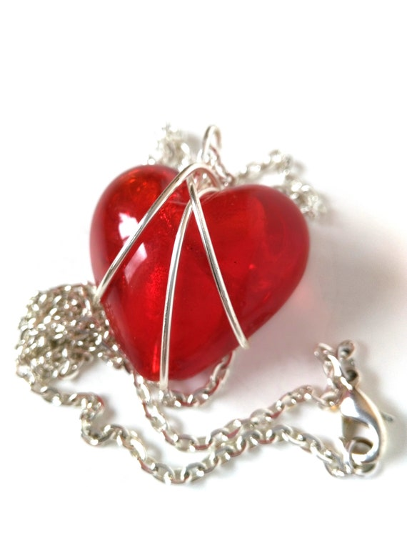 Red Heart Necklace w Silver Chain and Wire Wrapped Pendant, Wholesale or Bulk Order Available, Mothers Day Gift, Wife Gift, Retirement Gift