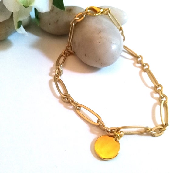 Personalized Charm Anklet in Matte Gold Oval Link Chain with TierraCast Stamping Disc