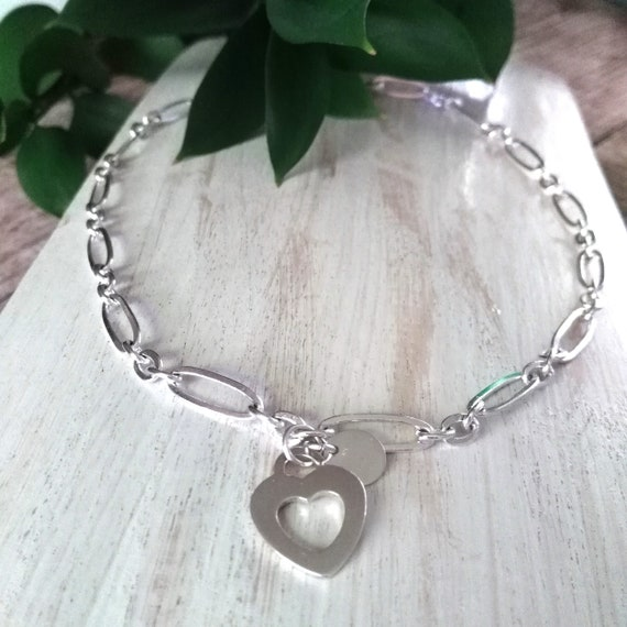 Heart Necklace in Silver with Sterling Heart and Disc Charms on Stretched Oval Link Chain