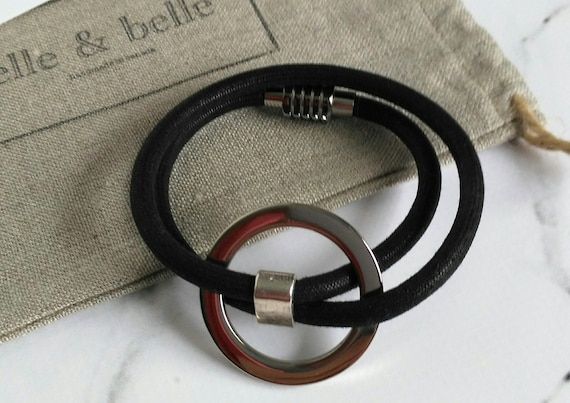 Wrap Bracelet in Black Mokuba Cord with Silver Ring and Silver Plated Stainless Steel Magnetic Clasp