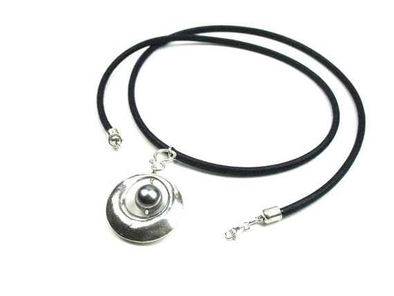 Elegant Pearl Statement Necklace in Sterling Silver with Black Mokuba Cord / June Birthstone