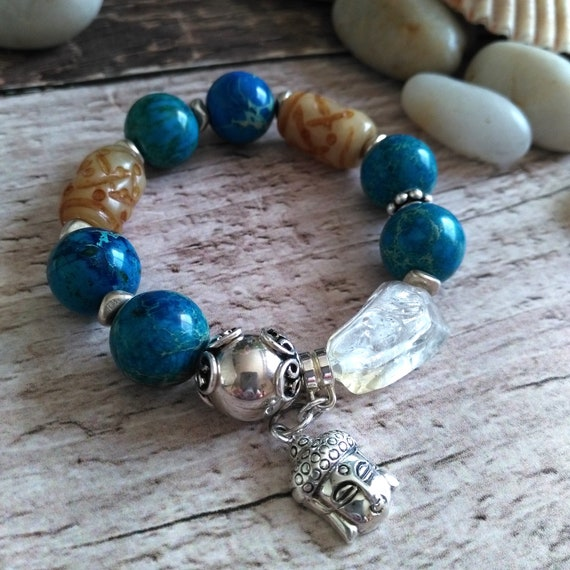 Chunky Gemstone Stretch Bracelet in Blue Natural Emperor Stone, Amber Jade, Citrine,  Sterling Silver Ball Bead and Buddha Charm
