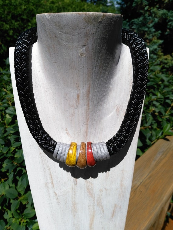 Chunky Rope Necklace in Black Boating Cord Wrapped in Grey Mokuba Cord with Optional Coconut Rings or Pearl Charm, One of A Kind Jewelry