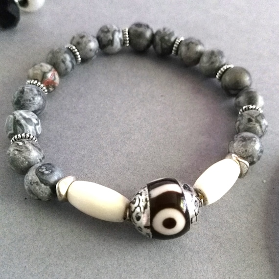 Gemstone Bead Bracelet in Grays, Blacks and White with Tibetan Dzi Focal, Bone Beads and Matte Crazy Lace Agate  with Silver Spacers