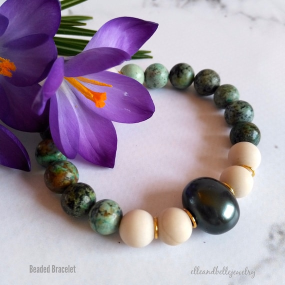Gemstone Beaded Stretch Bracelet in African Turquoise, Fossil, White Baroque Pearl and Dark Green Freshwater Pearl