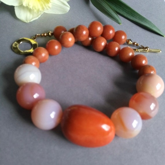 Unique Beaded Necklace in Earth Tones with Rose Quartz, Salmon Agate and Orange Tagua Nut