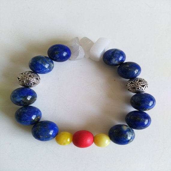 Beaded Bracelet in Blue, White, Yellow, Red and Silver with Lapis Lazuli, Agate, Resin,  and Wood
