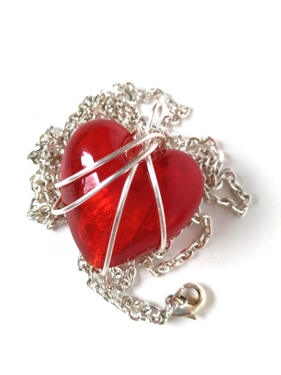 Mother's Day Gift in Wire Wrapped Red Heart Necklace with Silver Chain