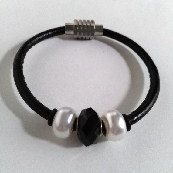 Black Leather Beaded Bracelet with or without White and Black Beads which closes with a Stainless Steel Ribbed Magnetic Clasp