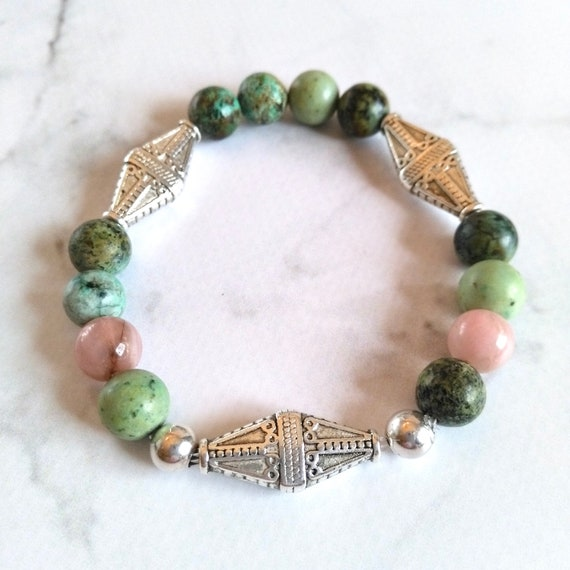 Beaded Gemstone Bracelet in African Turquoise, Silver Plated Spacer Beads, Sterling Silver Beads and Pink Rhodonite Bracelet for a Mom Gift