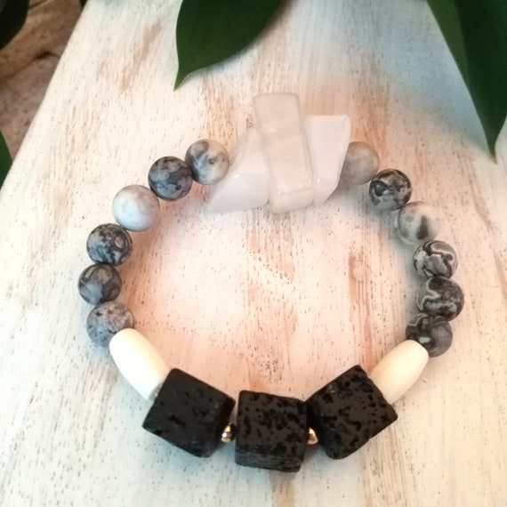 Gemstone Bracelet in Grays, Blacks and White with Agate Chunks, Bone Beads, Matte Crazy Lace Agate and Black Lava Beads