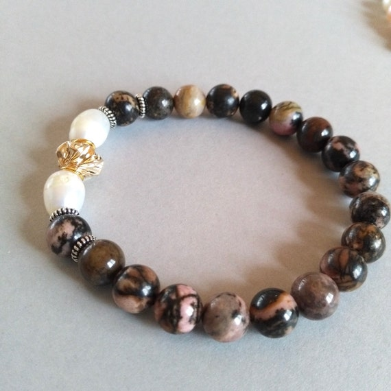 Gemstone Bracelet in Pink and Brown Rhodonite, White Baroque Pearls, Antique Silver Coiled Spacers and Gold Filled Twisted Accent