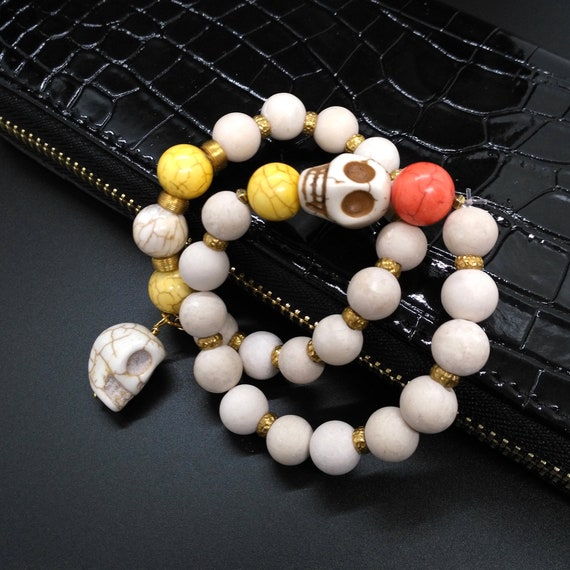 Halloween Beaded Stretch Bracelet Set in Howlite Skeleton Heads, Fossil, Fossil Coral, and Brass Spacer Beads is Sold as a Set