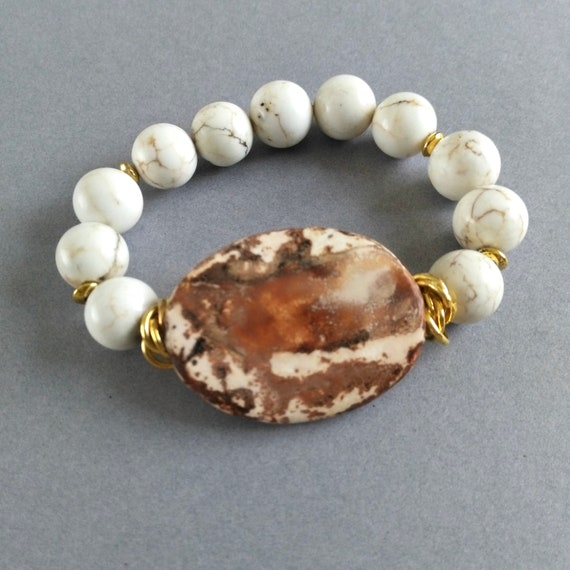 Gemstone Beaded  Bracelet in White and Brown with Earthy Rustic Agate, Howlite Beads and Gold Ring Spacers