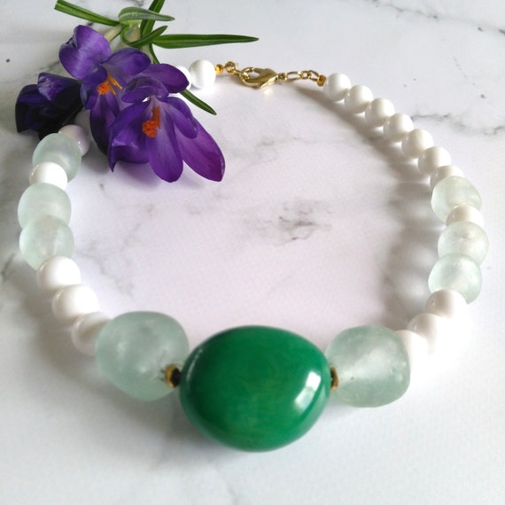 Fair Trade Bead Necklace in White Sea Shell with Large Green Tagua Nut and Clear/White Recycled Glass Beads from Ghana