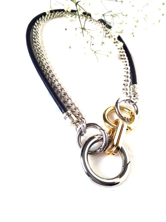 Mixed Metal Convertible Statement Necklace with Chunky Silver Curb Chain, Navy Mokuba Cord, and Large Metal Industrial Rings and Connectors