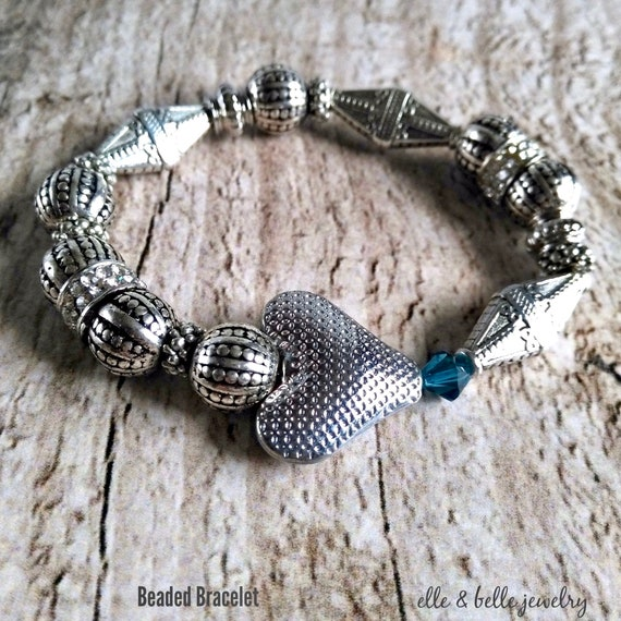 Antiqued Silver Beaded Bracelet with Textured Heart, Rhinestone Pave and Teal Swarovski Crystal