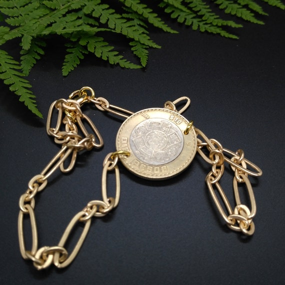 Artisan Layering Coin Necklace in Gold Stretched Oval Chain with Integrated Mixed Metal Mexican Coin