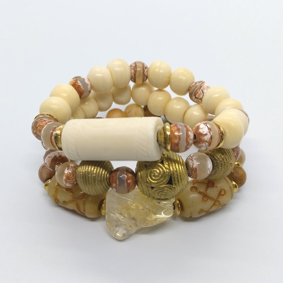 Neutral Bead Bracelet Stack in Citrine, Textured Bone, Nepal OX Bone, Jade, African Brass, Ethnic Dzi, Crazy Agate, Prices Listed Separately