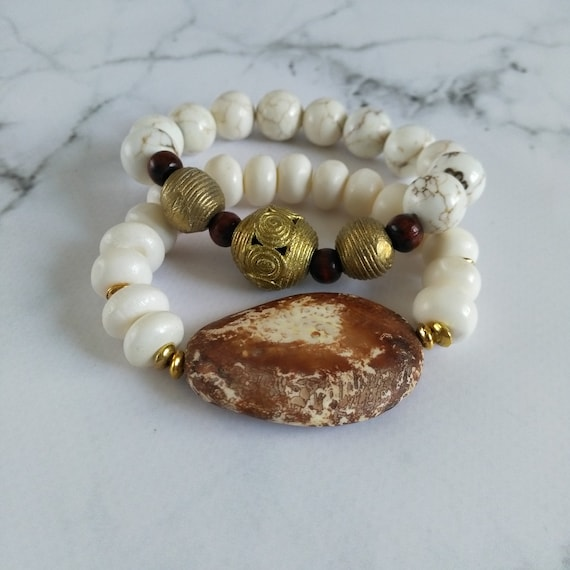 Beaded Stretch Bracelet Stack in Brown and White w/ Wooden Agate, Bone, Howlite and Brass Lost Wax Casting Beads