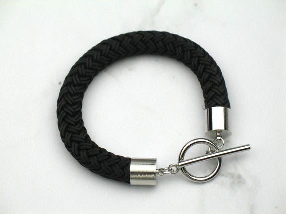 Black Rope Bracelet in Chunky Marine Boating Cord with Silver Details / Womens Gift for Her / Nautical Wrist Candy / Fiber Jewelry