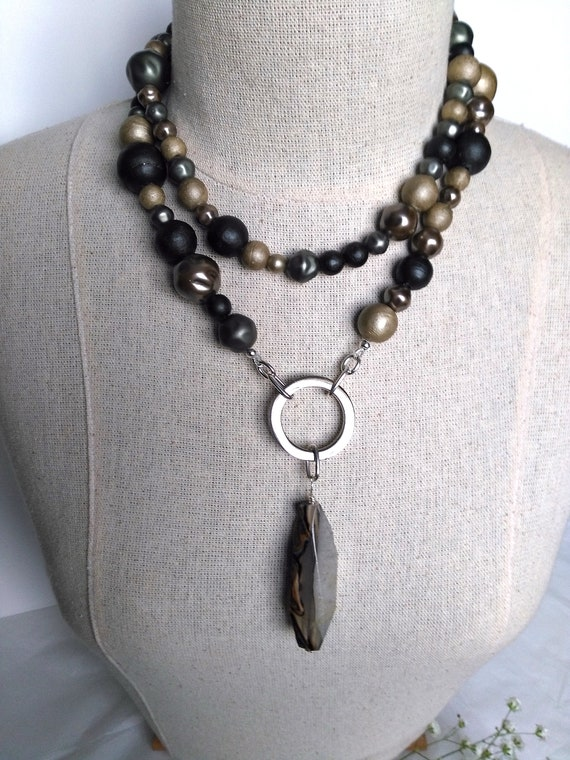 Long Reused Pendant Statement Necklace in Earthy Tone Costume Beads with Silver Plated Circle and Large Crackle Agate Stone as Pendant