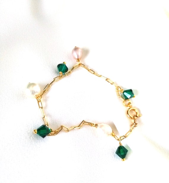 Charm Bracelet in 18K Gold Filled Elongated Flat Cable Chain w/ White Pearl and Green Swarovski Crystal Charms, Valentines Gift for Her