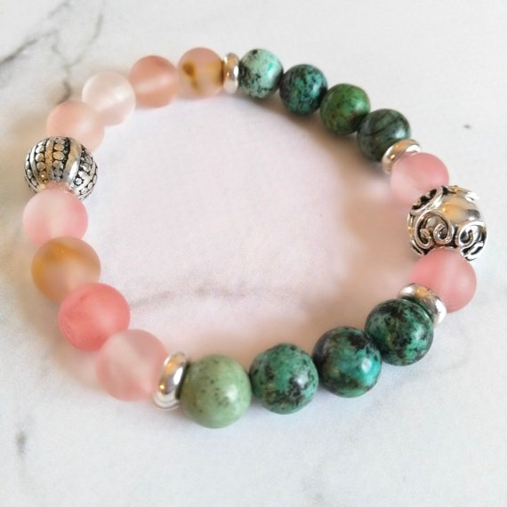 Beaded Gemstone Bead Bracelet in Pink, Green and Silver with African Turquoise, Sterling Silver Bead and Bead Caps and Cherry Quartz Pink