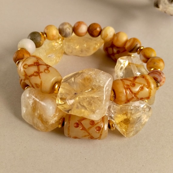 Chunky Gemstone Beaded Stretch Bracelet Stack in Citrine, Textured Amber Jade and Crazy Agate