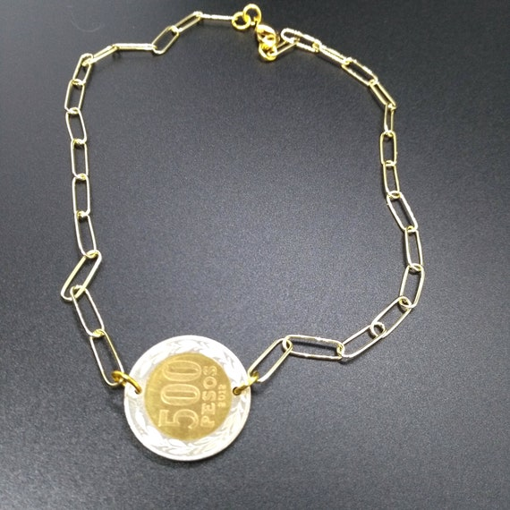 Layering Coin Necklace in High Quality Gold Plated Chunky Flat Oval Rectangle Paper Clip Chain with Integrated Mixed Metal Chilean 2012 Coin